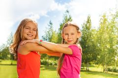 Girls dance in the park Stock Photos