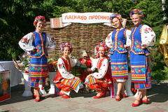 Girls dancers and singers, actors, chorus members, dancers of corps de ballet, soloists of the Ukrainian Cossack ensemble Royalty Free Stock Images