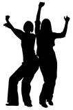 Girls dancing. Silhouette image of two girls dancing stock illustration