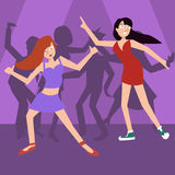 Girls dancing at disco vector cartoon. Girls dancing at disco - funny vector cartoon illustration of two teens Royalty Free Stock Images