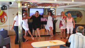 Girls dancing and enjoy in cruise trip - Greece stock footage