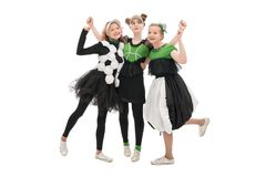 Girls in fashion dresses isolated view. Girls dancing in fashion green and black dresses isolated view royalty free stock photos