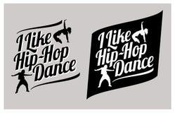 Girls dancing hip-hop. I like hip-hop lettering. Silhouettes of expressive girls dancing hip-hop. I like hip-hop dance vector lettering stock images