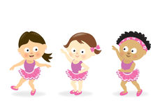 Girls dancing. Illustration of little girls in dancer outfits Royalty Free Stock Photos