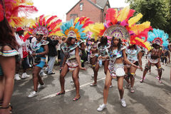 Girls dancing in the Leeds Carnival. Parade 25 August 2008 Royalty Free Stock Image