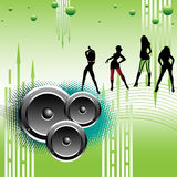 Girls dancing on loud music. Abstract colorful background with loudspeakers, green bubbles and girls dancing on loud music. Party concept Royalty Free Stock Images
