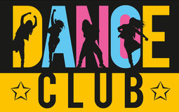 Girls dancing modern dance styles inside lettering dance club. Silhouettes of expressive girls dancing modern dance styles inside lettering dance club Royalty Free Stock Images