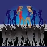 Girls dancing, night club. Girls dancing on dance floor in night club royalty free illustration