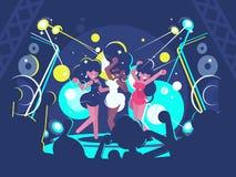 Girls dancing in nightclub. Beautiful girls dancing on dance floor in nightclub. Vector illustration vector illustration