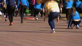 Girls dancing in public Stock Photo
