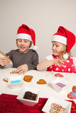 Girls decorating gingerbread cookies Stock Photography