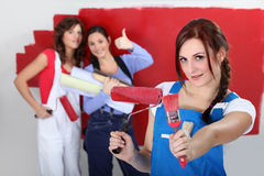 Girls decorating Royalty Free Stock Image