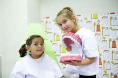 Girls at the dentist Royalty Free Stock Photo