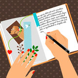 Girls diary scheduler with bookmark Royalty Free Stock Photography