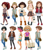 Girls in different clothings Stock Images