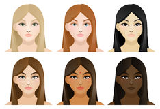 Girls with different color hair and skin. A set of six young, beautiful girls of different color hair and skin Royalty Free Stock Images