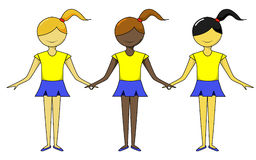 Girls of Different Ethnic Groups. Standing in a row Royalty Free Stock Photos