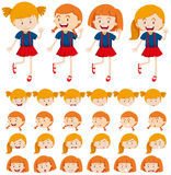 Girls and different facial expressions Royalty Free Stock Image