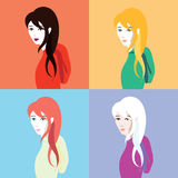 Girls with different hair colors. Four girls with different hair colors: blond, red, brunette and white. Vector image design collection, background colors: blue royalty free illustration