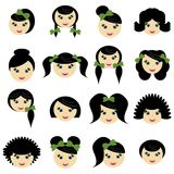 Girls with different hair styles. On white background Stock Photo