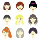 Girls with different hairstyles Royalty Free Stock Images
