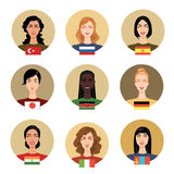 Girls of different nationalities. Set of vector icons - people of different nationalities. Girls Royalty Free Stock Photo