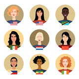 Girls of different nationalities. Set of vector icons - people of different nationalities. Girls Stock Images