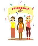 Girls of different nations stand holding hands vector illustration