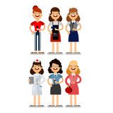 Girls of different professions Stock Photos