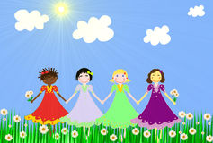 The girls of different races on a green meadow Royalty Free Stock Photos