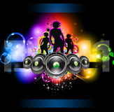 Girls Discoteque Event Flyer. For Music Themed Flyers Royalty Free Stock Photo