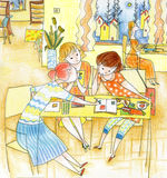Girls discussion. A group girls discussion in library with pencil paint stock illustration