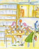 Girls discussion. A group girls discussion in library with pencil paint Royalty Free Stock Photos