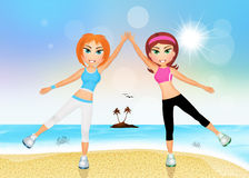 Girls do exercises on the beach Stock Image