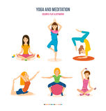 Girls do yoga, meditation and fitness in different positions. Stock Image