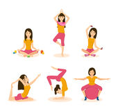 Girls do yoga, meditation and fitness in different positions. Stock Photo