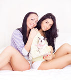 Girls with a dog Stock Images
