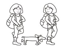 Girls and dog - coloring book Royalty Free Stock Photo