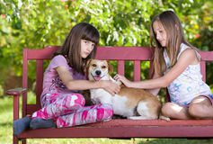 Girls with dog Royalty Free Stock Photography