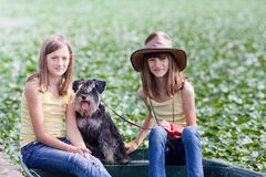 Girls with dog Royalty Free Stock Images
