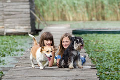 Girls and dogs Royalty Free Stock Images