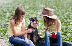 Girls with dogs Stock Photo