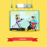 Girls are doing cardio exercises in the gym Royalty Free Stock Photo