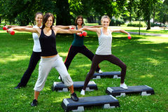Girls doing fitness exercises Royalty Free Stock Image