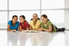 Girls doing homework. Royalty Free Stock Photos