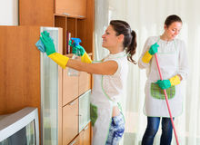 Girls  doing housework and cleaning furniture Stock Images