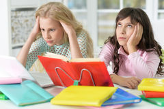 Girls doing lessons Stock Photography