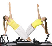 Girls are doing pilates Stock Photography