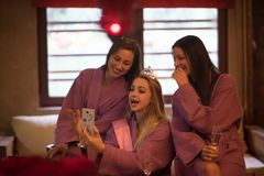 Girls doing Selfy on bachelorette party stock photography