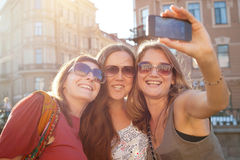 Girls doing selfy royalty free stock photos